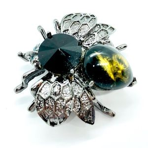 Unique Bee Pin Glass Cabochon & Rhinestone Brooch